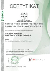 Certyfikat Standardu Usług Szkoleniowo - Rozwojowych DEKRA dla GAUM