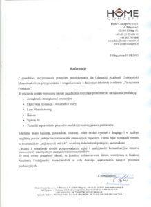 Home Concept Sp. z o.o. - Zarządzanie produkcją