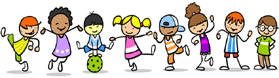 Viele verschiedene bunte glückliche Kinder in einer Reihe