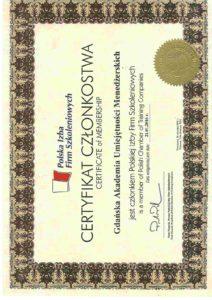Certyfikat Polskiej Izby Firm Szkoleniowych